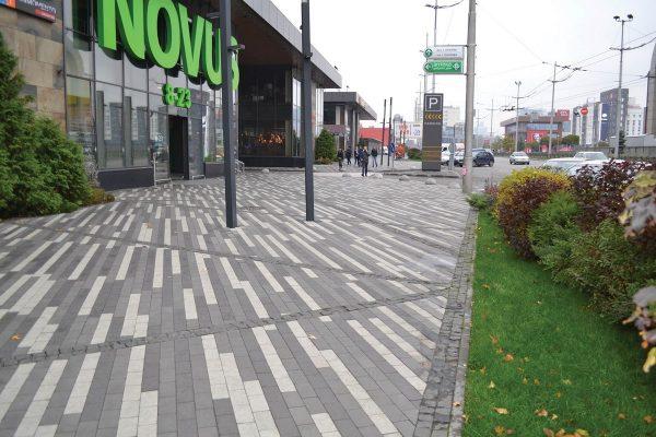 Приклад чорної, сірої та білої тротуарної плитки. Купити у салоні тротуарної плитки «Melius» у Вінниці