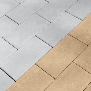 Приклад сірої та жовтої тротуарної плитки. Купити у салоні тротуарної плитки «Melius» у Вінниці