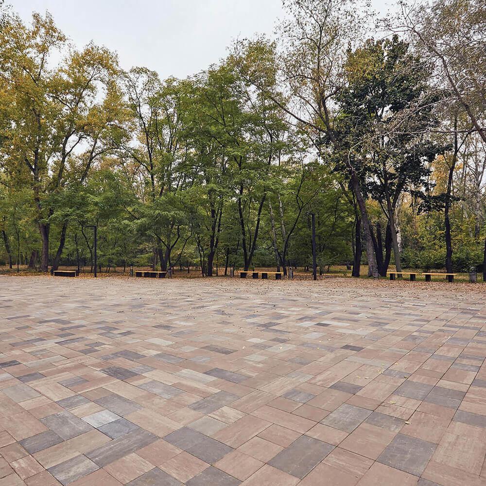 Фото Тротуарна плитка Лайнстоун-60 Колір: Еспресо від салону тротуарної плитки «Melius» Вінниця. Укладка тротуарної плитки