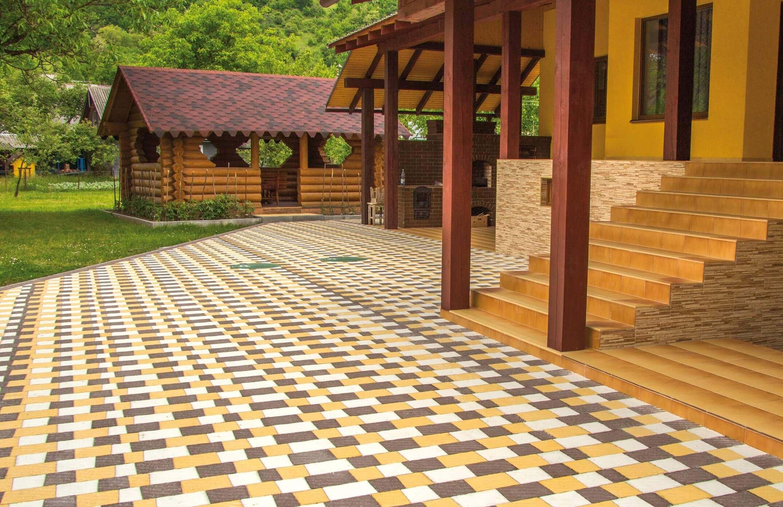 Тротуарна плитка на схилі. Різнокольорова бруківка від салону тротуарної плитки «Melius» Вінниця